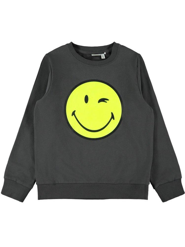 Name It Kids Happy Tiks Ls - Sweat - Asphalt