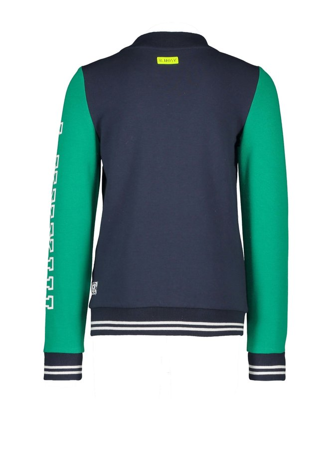 Boys cardigan with contrast sleeves - Oxford blue