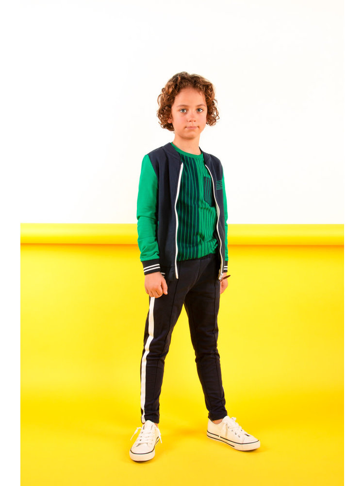 B.Nosy Boys cardigan with contrast sleeves - Oxford blue