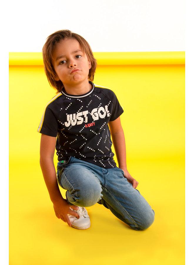 Boys raglan shirt with tape on sleeves - Blue dot B.Nosy