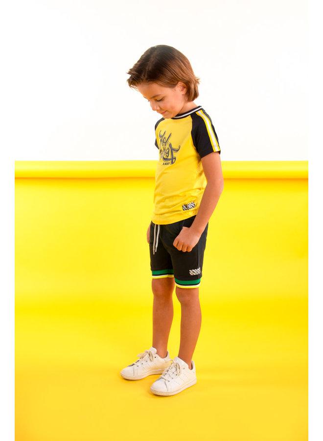 Boys raglan shirt with tape on sleeves - Lemon