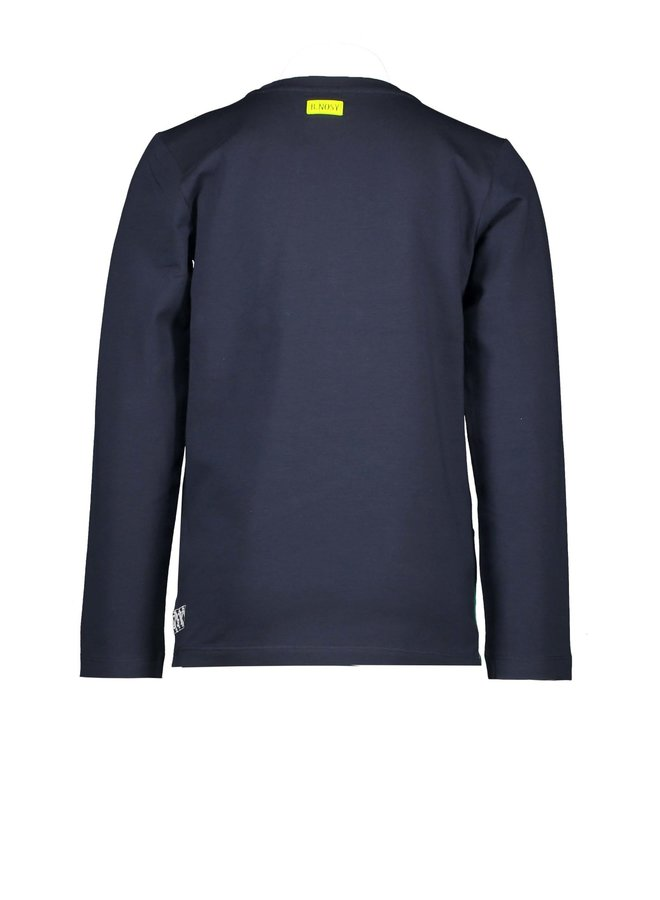 Boys shirt with cut and sew panels - Oxford blue