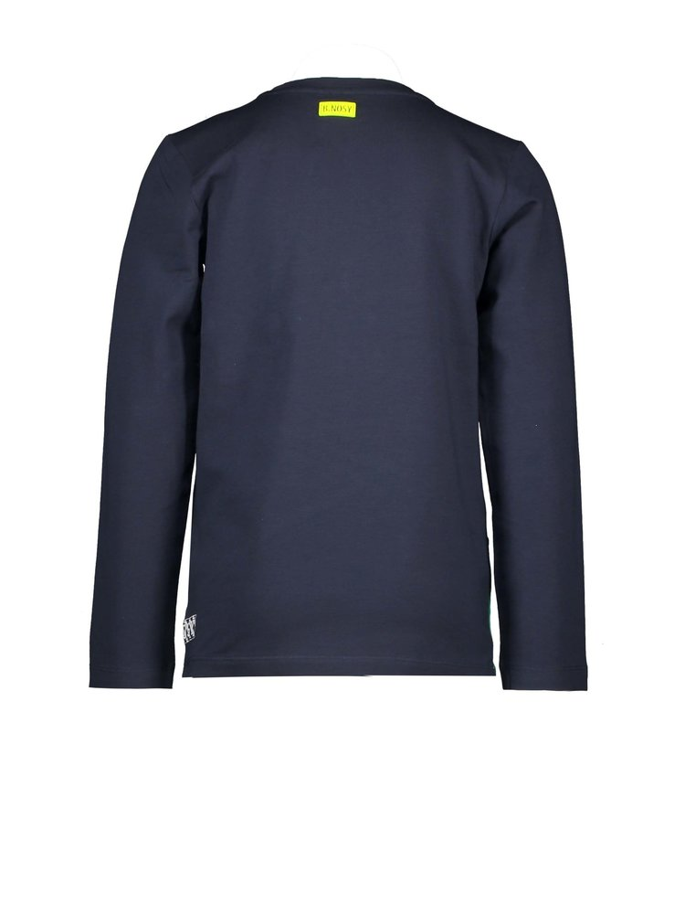 B.Nosy Boys shirt with cut and sew panels - Oxford blue