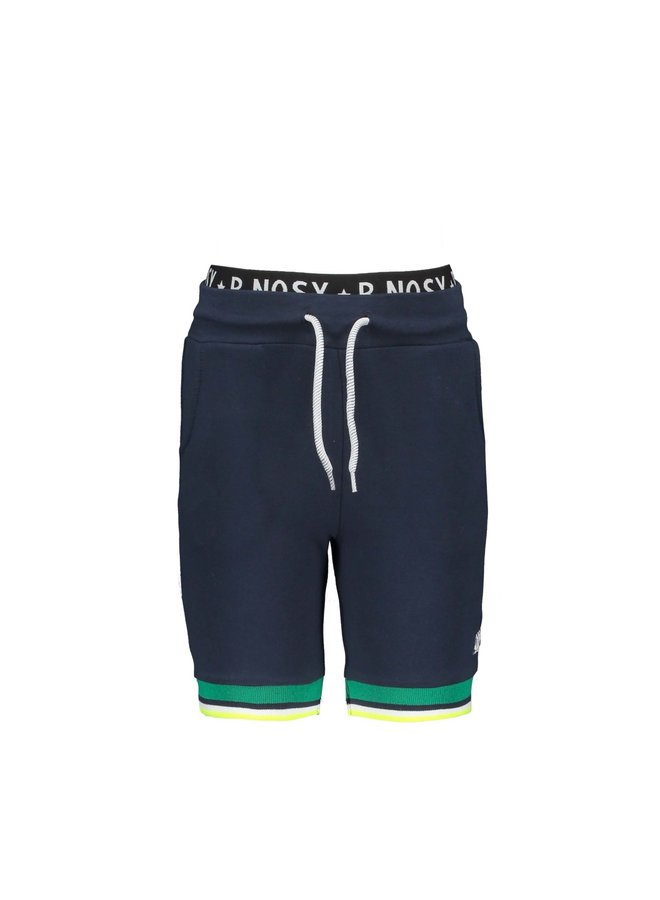 Boys shorts with multicolor rib at hem - Oxford blue