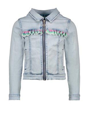B.Nosy Girls denim jacket with mutli coloured ruffle