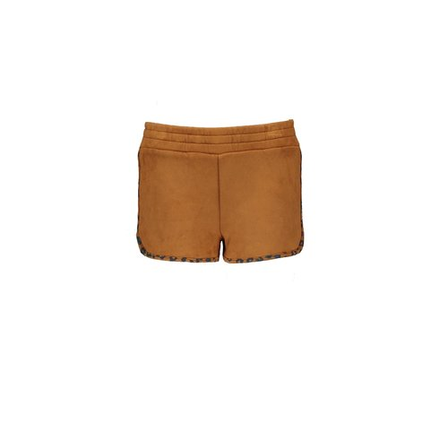 B.Nosy Girls fake suede shorts with leo aop binding - Soft brown