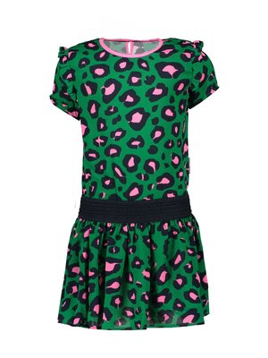 B.Nosy Girls dress with leo aop and ruffle around armhole - Jade leopard