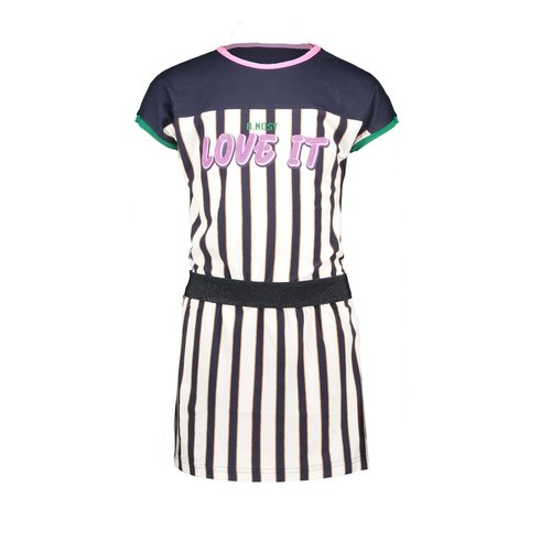 B.Nosy Girls YDS dress with cut and sew and contrast binding - Oxford stripe