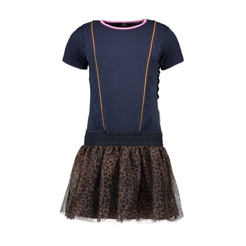 B.Nosy Girls dress with vertical ruffles,  leo netting skirt - Oxford blue