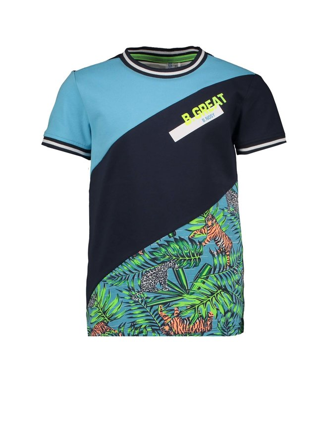 Boys 3-piece short sleeve shirt with jungle aop - Tiger jungle