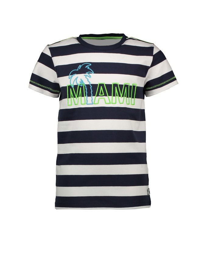 Boys YDS short sleeve with embroidery on chest - Big stripe blue