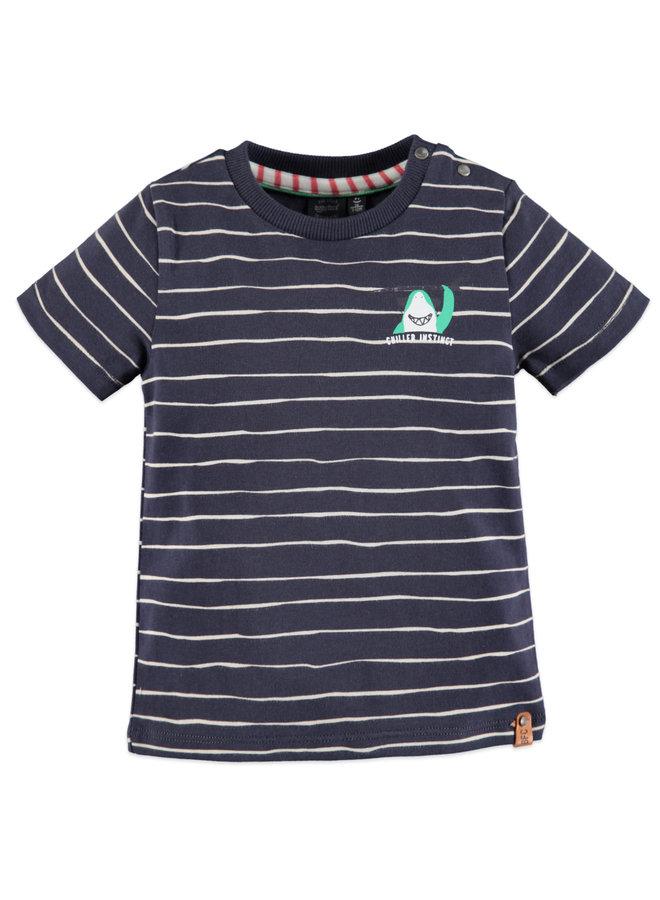 Boys t-shirt short sleeve - Ink - Stripe/Shark