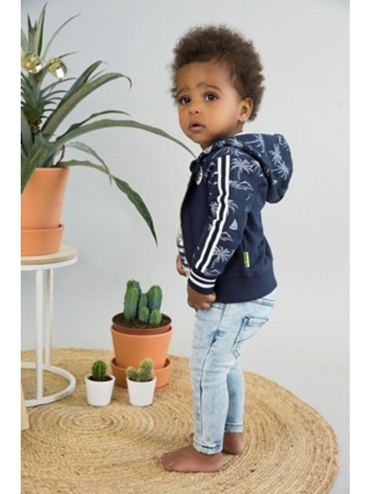 Dirkje Baby cardigan - Navy + aop