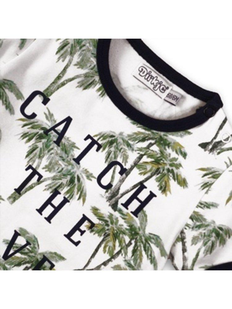 Dirkje Baby t-shirt - White + aop + navy