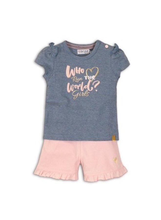 2 pce babysuit - Light blue melee + light pink