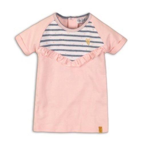 Dirkje Baby dress - Light pink + light blue stripe