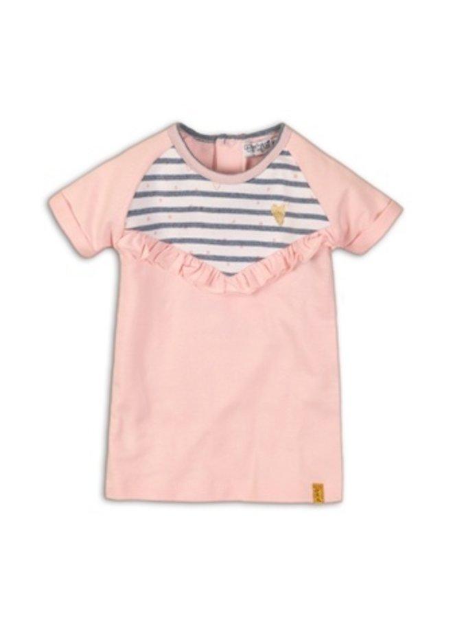 Baby dress - Light pink + light blue stripe