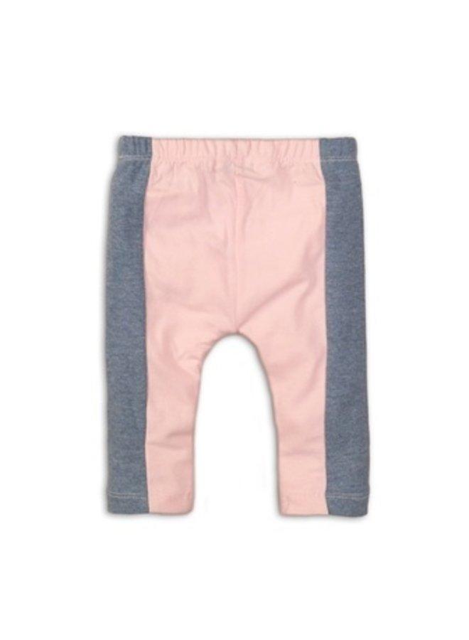 Baby 3/4 legging - Light blue melee + light pink