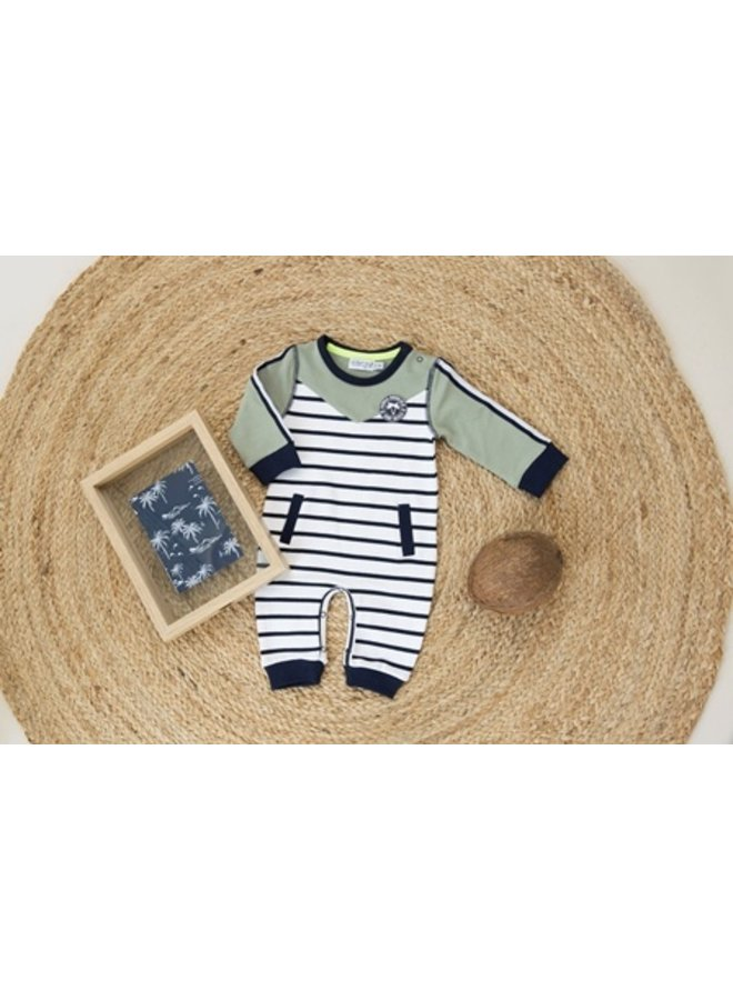 1 pce babysuit - White + navy stripe + light army green