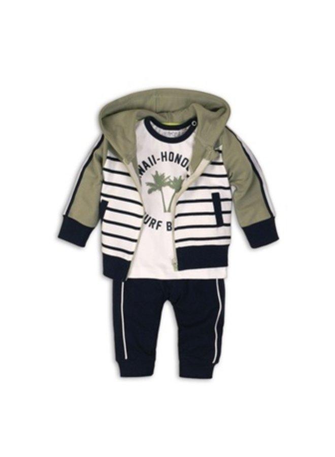 3 pce babysuit - Light army green + stripe + white + navy
