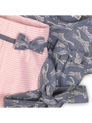 Dirkje 2 pce babysuit + headband - Light blue melee + light pink stripe