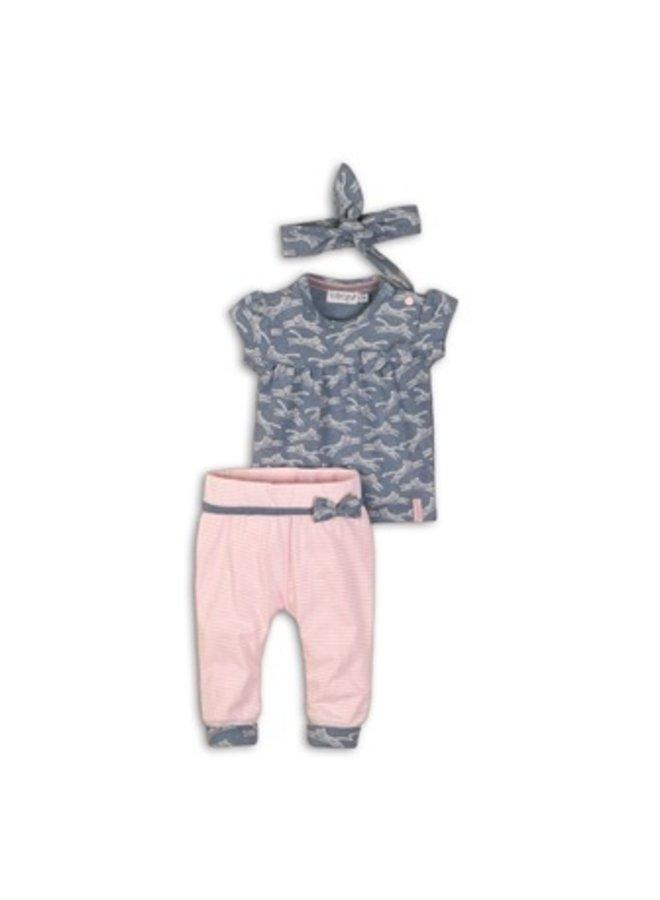 2 pce babysuit + headband - Light blue melee + light pink stripe