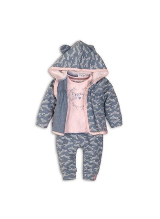 3 pce babysuit - light blue melee + light pink stripe