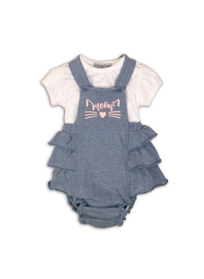 2 pce babysuit - Light blue melee + white
