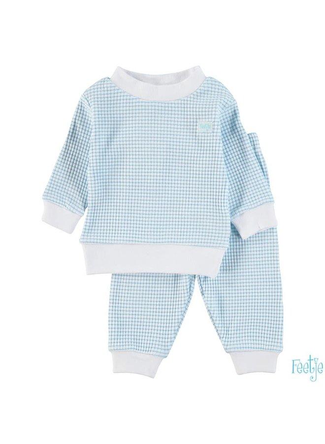 Pyjama wafel - Azuur