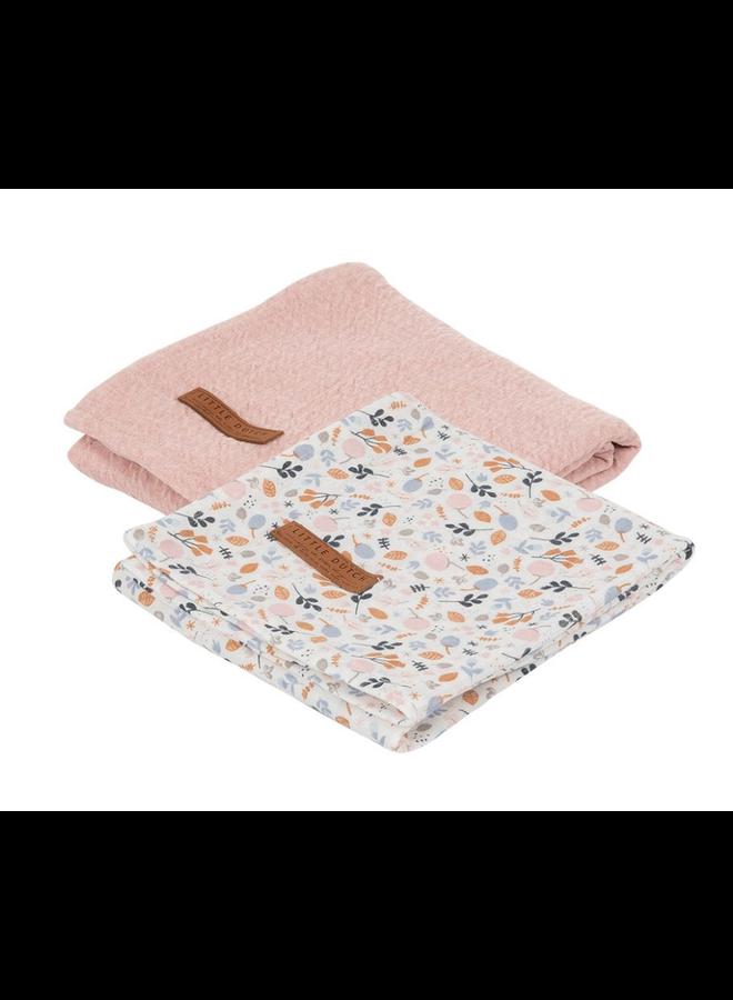 Swaddle doeken 70 x 70 - Pure Pink /Spring Flowers