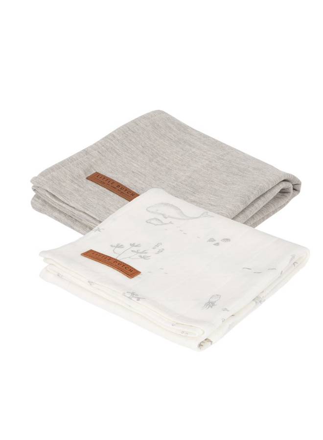 Swaddle doeken 70 x 70 - Ocean White / Pure Grey