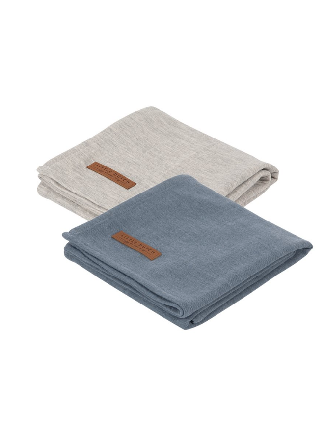Swaddle doeken 70 x 70 - Pure Blue /grey