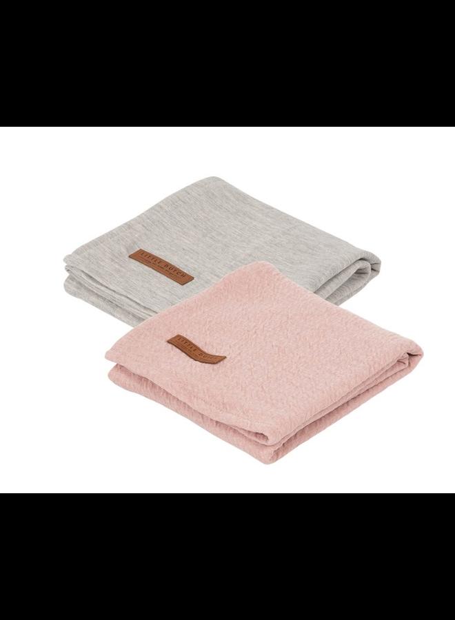 Swaddle doeken 70 x 70 - Pure Pink /grey