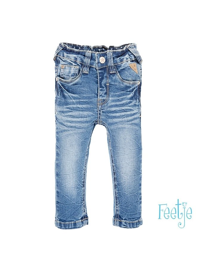 Power stretched bleached denim