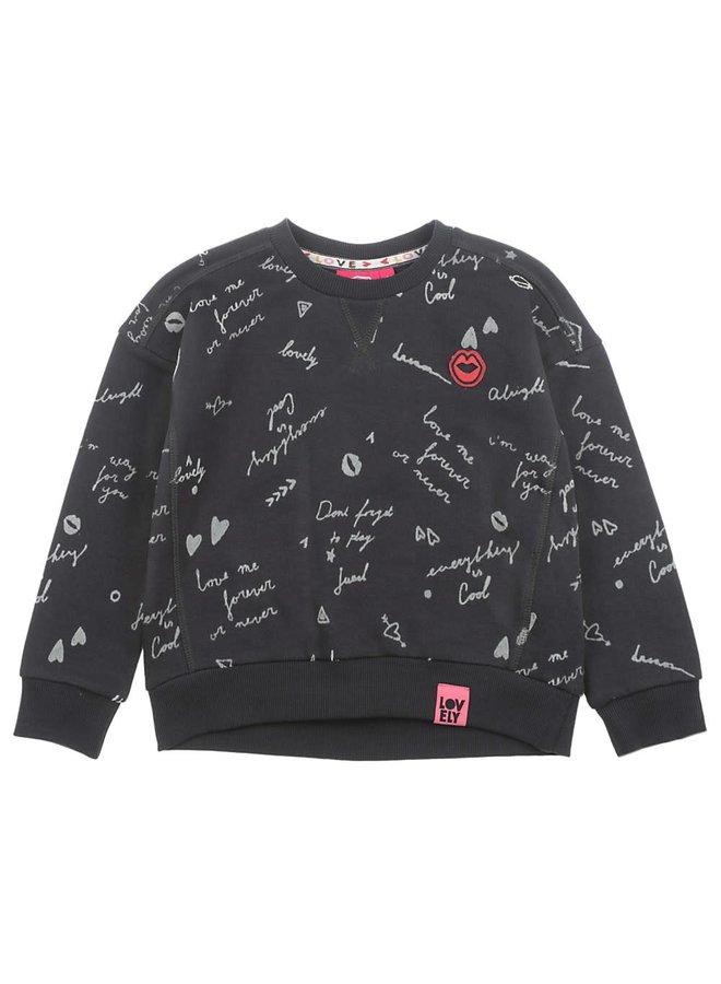 Sweater AOP - Bittersweet - Antraciet