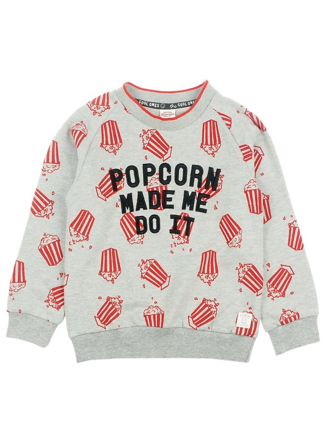 Sweater Popcorn - Popcorn Power - Grijs melange