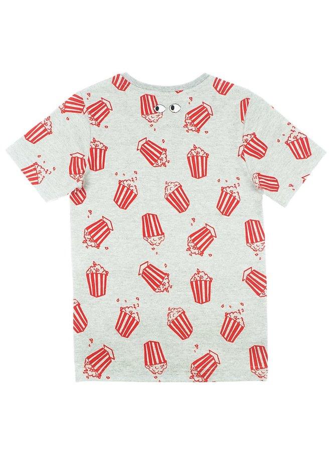 T-shirt AOP - Popcorn Power - Grijs Melange