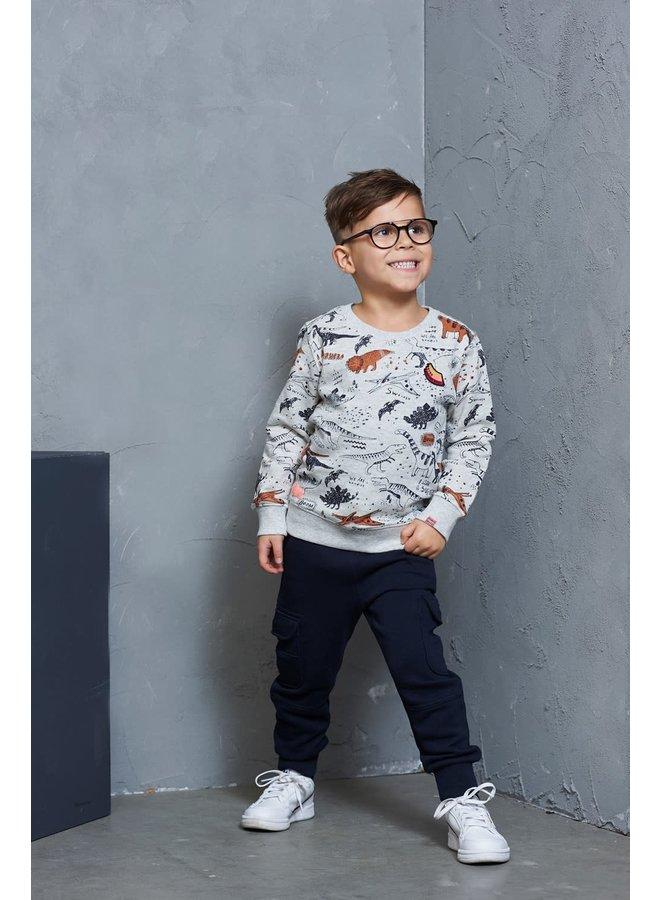 Sweater AOP - Dino-mite - Zand Melange