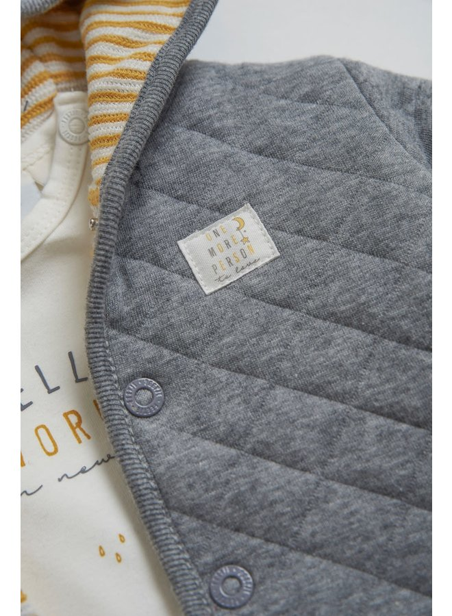 Omkeerbaar jasje met capuchon - I'm New Here - Okergeel