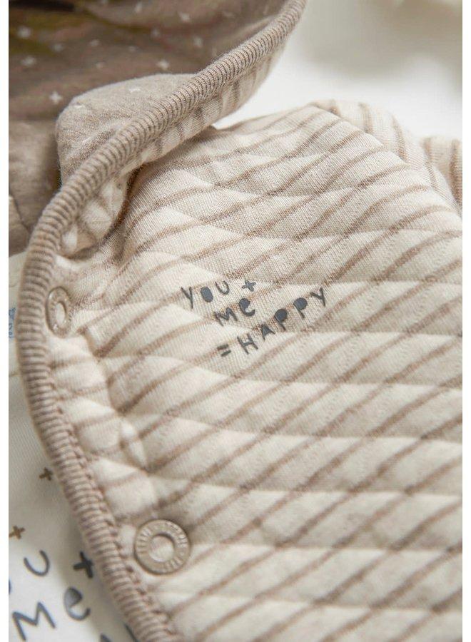 Omkeerbaar jasje met capuchon - Happy - Zand Melange