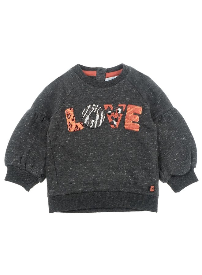 Sweater Love - Zebra - Antraciet Melange