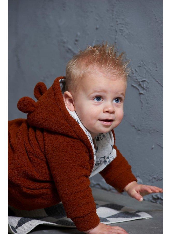 Teddy jasje met capuchon - Bear Hugs - Roest