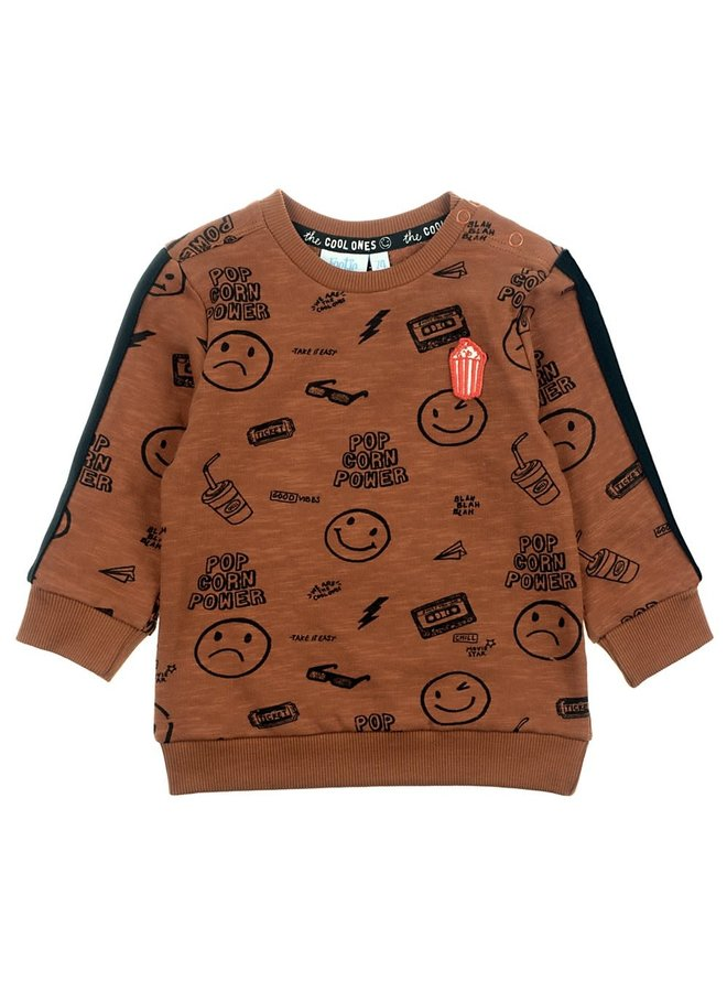 Sweater AOP - Popcorn Party - Bruin