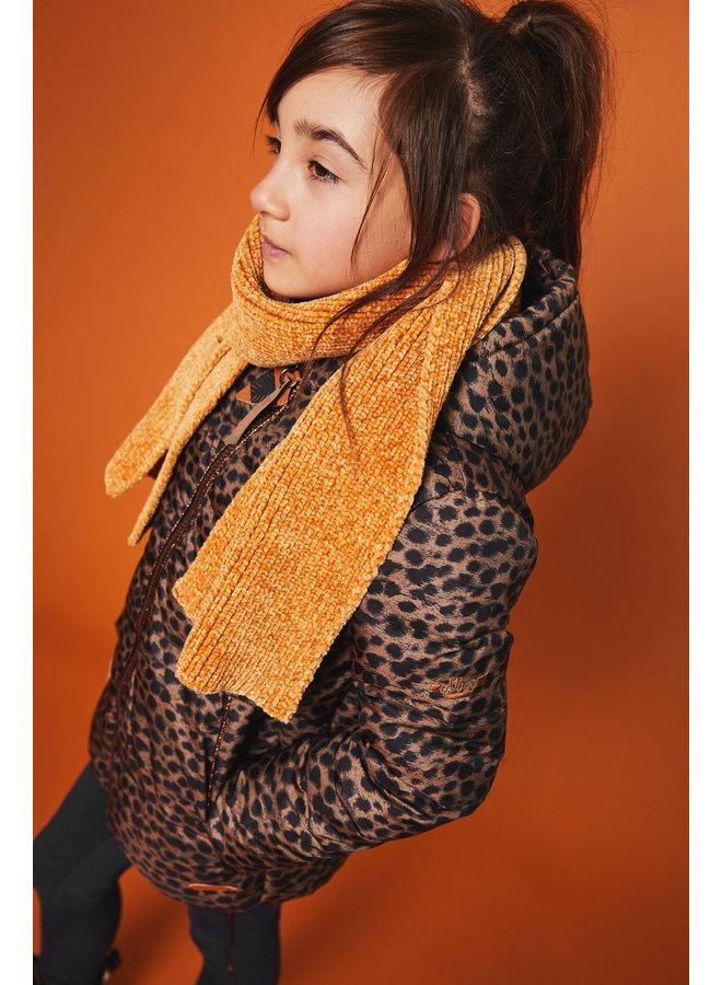 Briana Hooded - half long jacket - AOP cheeta with fur