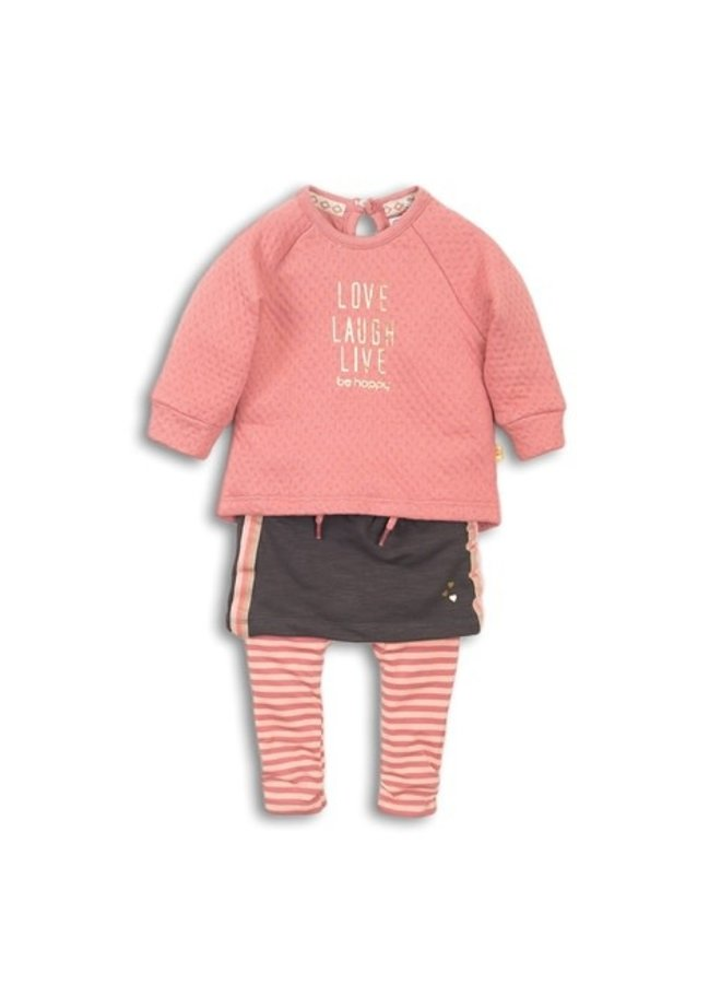 2 pce babysuit - Old pink + Brown