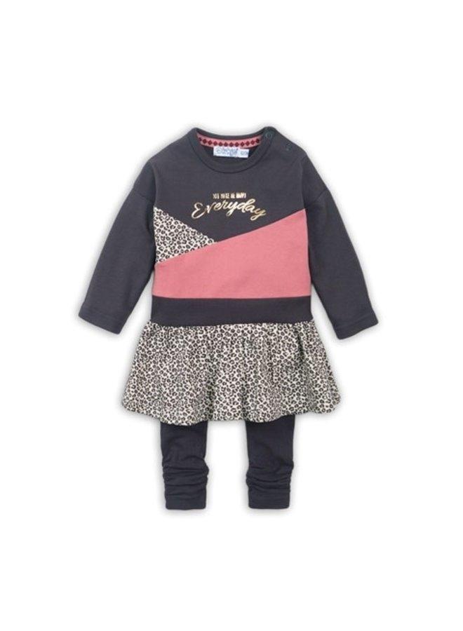 2 pce babysuit dress - Dark brown + Dark old pink + AOP
