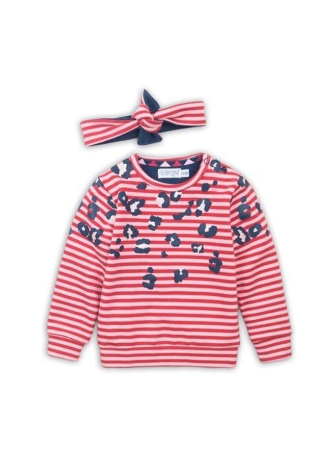 Baby Sweater + Headband - Red + Pink