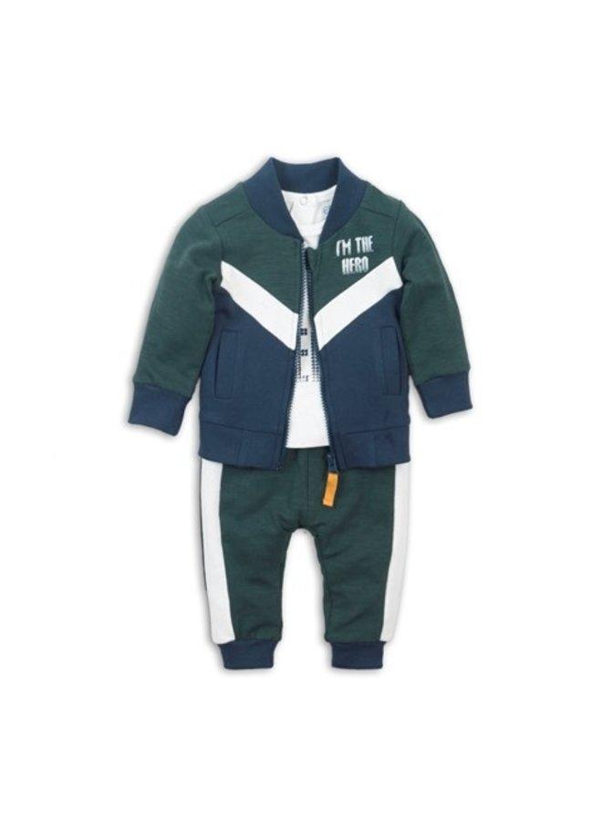 3 pcs Babysuit - Green + Off White + Navy