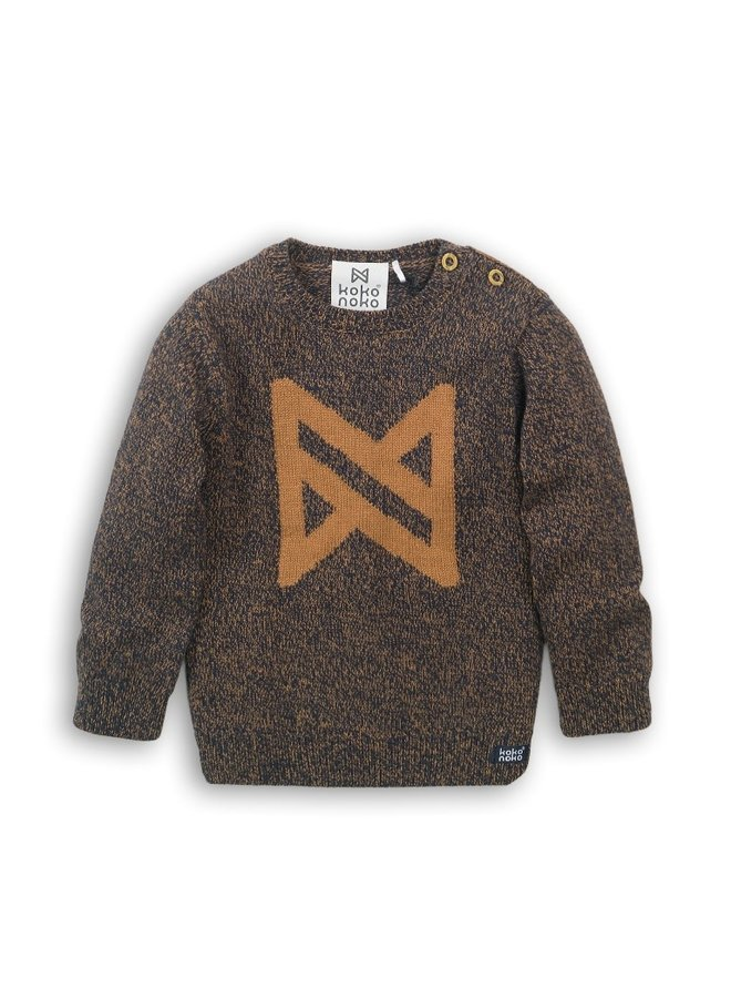 Sweater - Navy + Camel