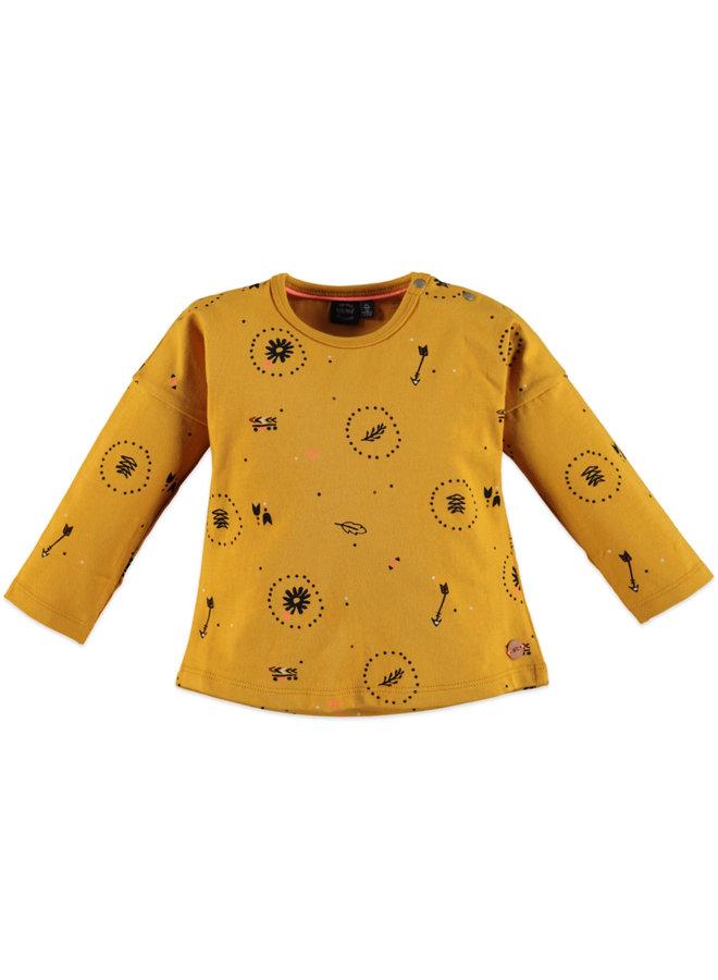 Girls T-shirt Longsleeve AOP - Ocher